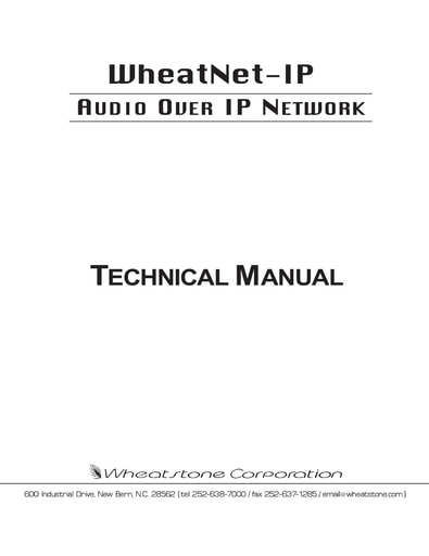 * WheatNet-IP Network Technical Manual